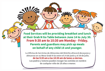 Graphic for Grab n Go program that will distribute breakfast and lunch during the summer.