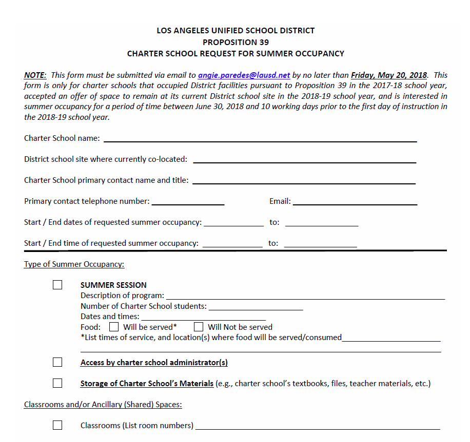Summer School Request Form
