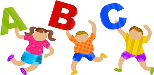 Clipart Kids with ABC letters