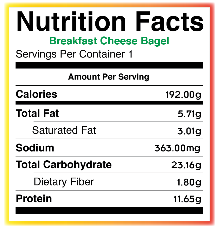 Food Services Nutritional Information