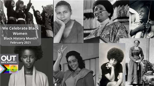Zoom background in black and white showcasing Black Women for Black History Month