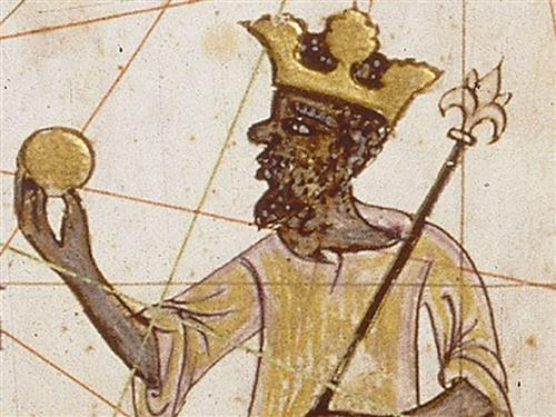 historic image of King Mansa Musa of the Mali Empire in gold and brown