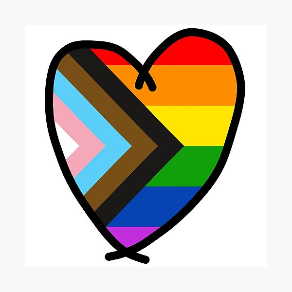 progress pride flag in a heart shape