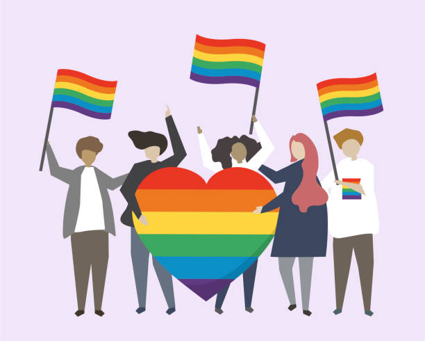 multicultural people holding pride flags and a pride heart