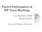 Parent Participation at IEP Meetings
