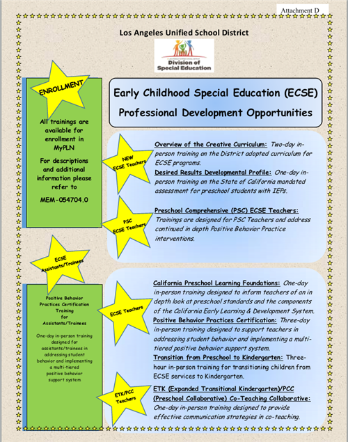 ECSE PD Opportunities