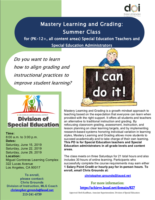 Mastery Learning and Grading: Summer Class