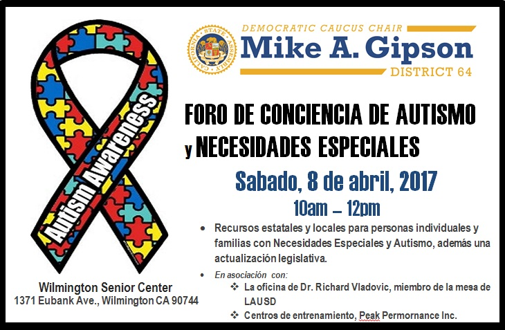 Autism Awareness Month and Special Needs Forum flyer in Spanish