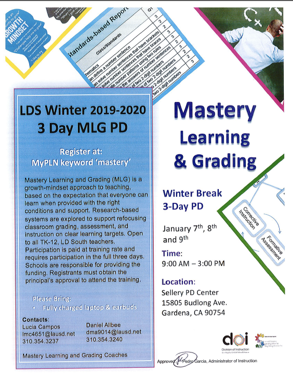 Mastery Learning and Grading Winter 3-Day PD Series