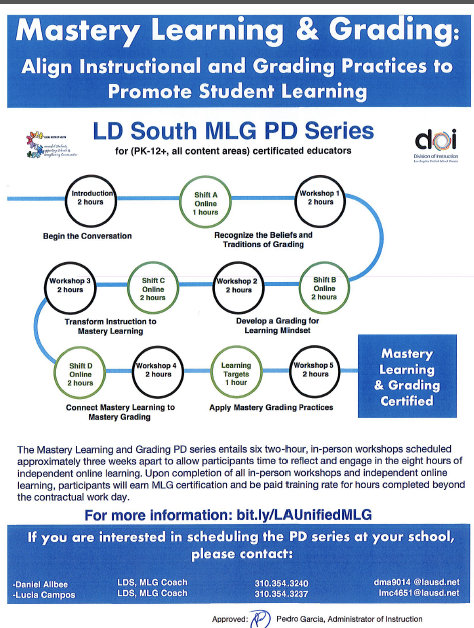 Mastery Learning and Grading PD Series information