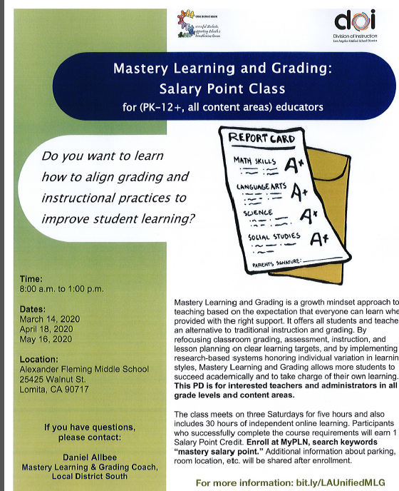 Mastery Learning and Grading Salary Point Class on three Saturdays