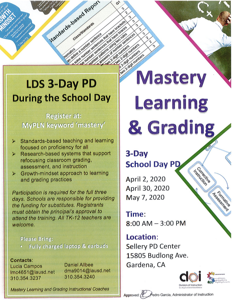 Mastery Learning and Grading during the school day PD series