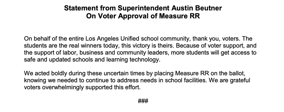 Statement on Approval of Measure RR