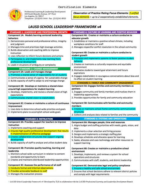 This is the Framework to use for Principal/Assistant Principal evaluations (EDSSL)