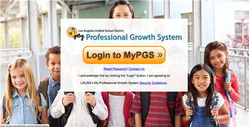 MyPGS Log-in Screen