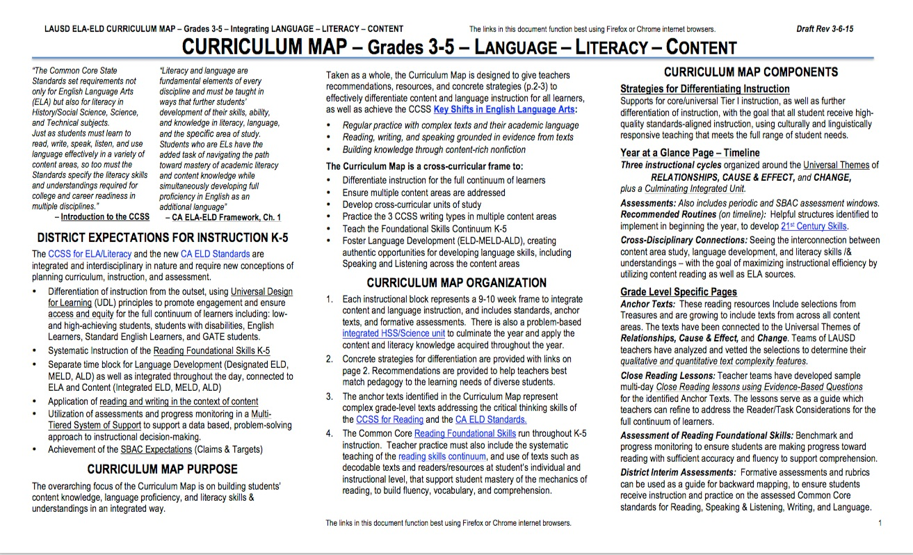 Literacylanguage Arts Prek 12 Elementary Curriculum Map