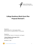 College Readiness Block Grant Plan