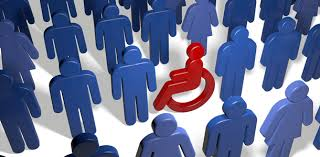 red person in a wheelchair surrounded by blue people