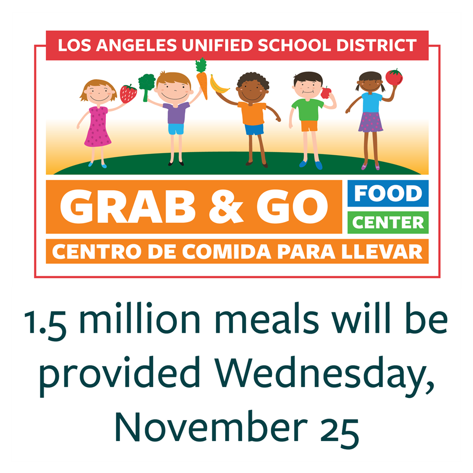 Los Angeles Unified Provides 1.5 Million Meals in One-Day Effort To Help Families Celebrate Thanksgiving (11-25-20)