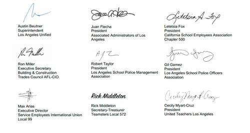 Labor leaders signatures