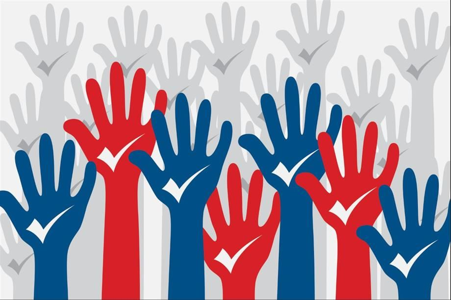 Drawing of several raised hands in blue and red with white checkmarks on palms.