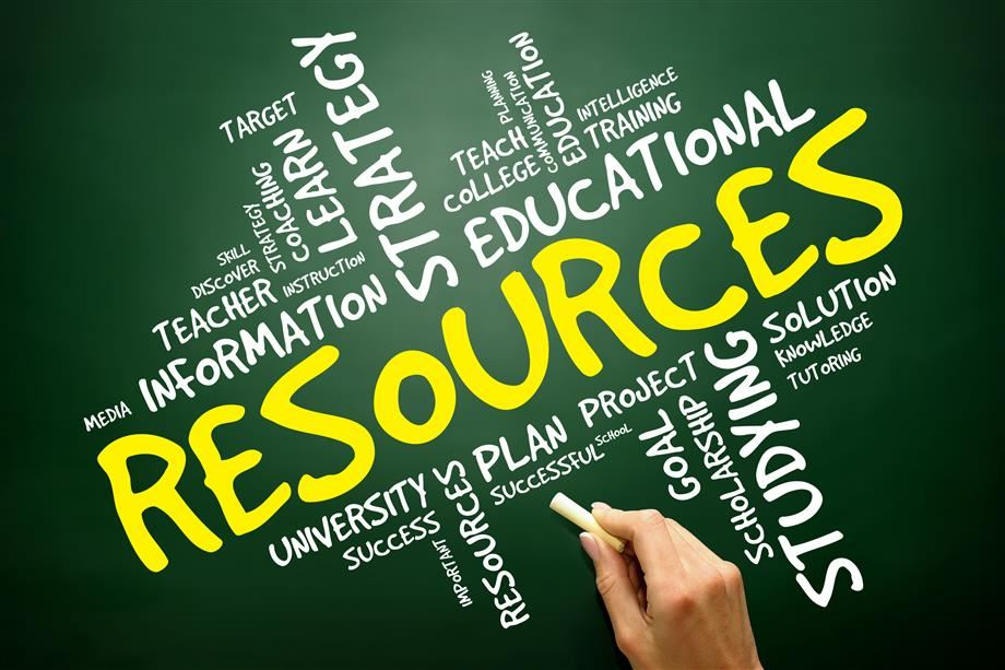 Imagae with words related to resources around the word resources as the focus