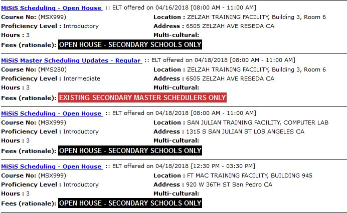 Master Schedule Building - Open House Available Through The Learning Zone