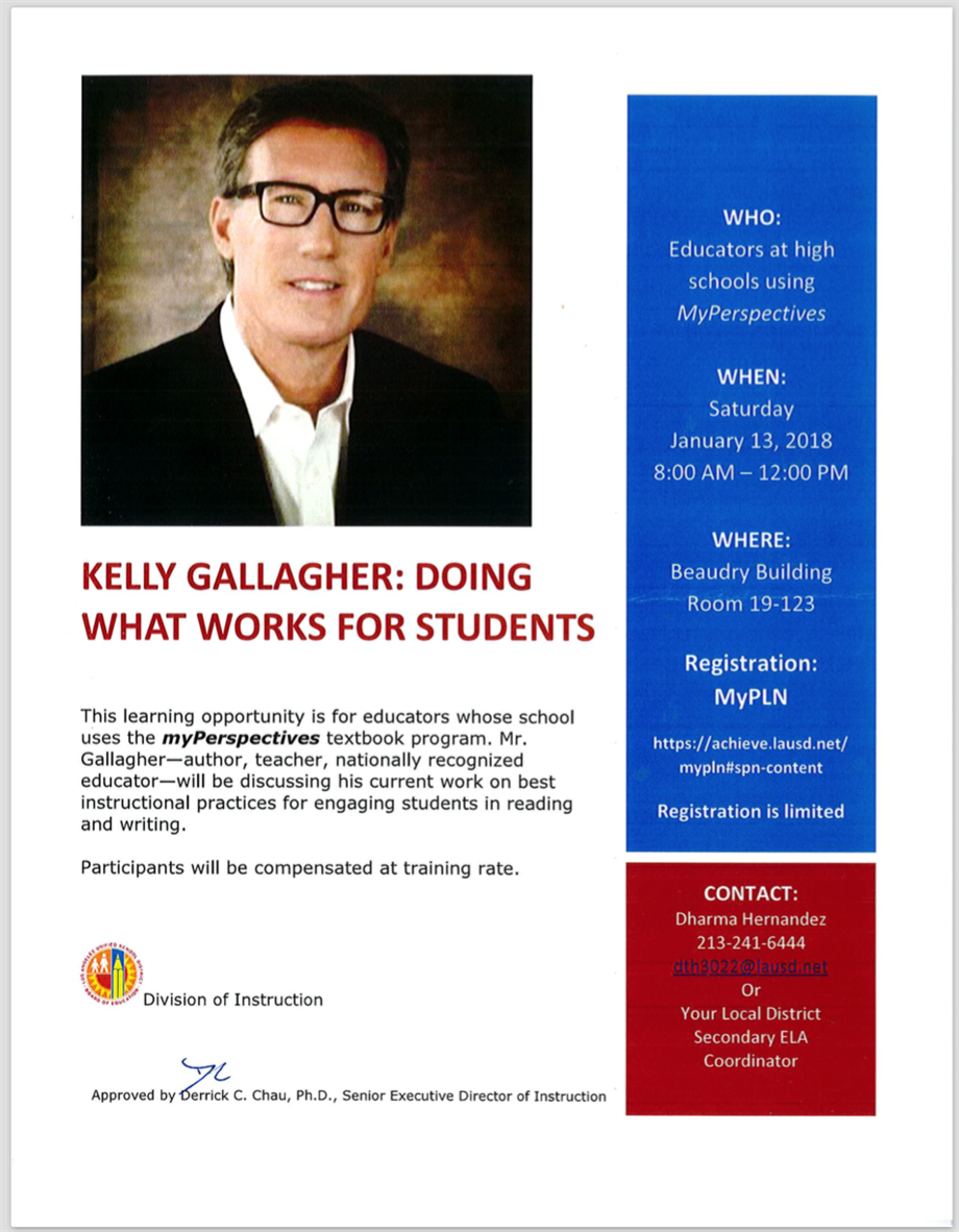 Kelly Gallagher: Doing What Works for Students Professional Development
