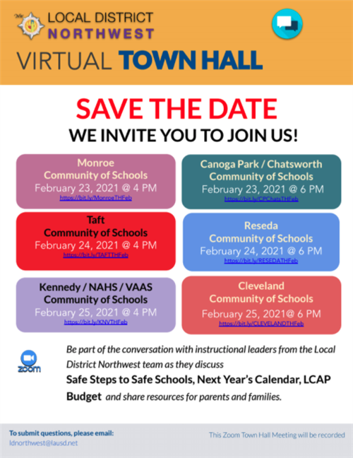 Open PDF Flyer for Upcoming Town Hall, February 23-25, 2021
