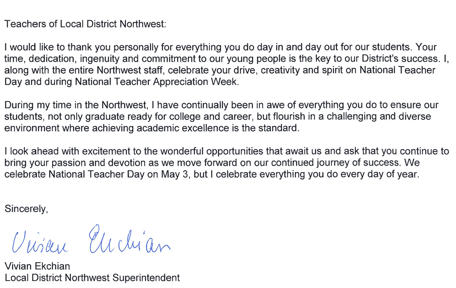 Teacher Appreciation Week Message