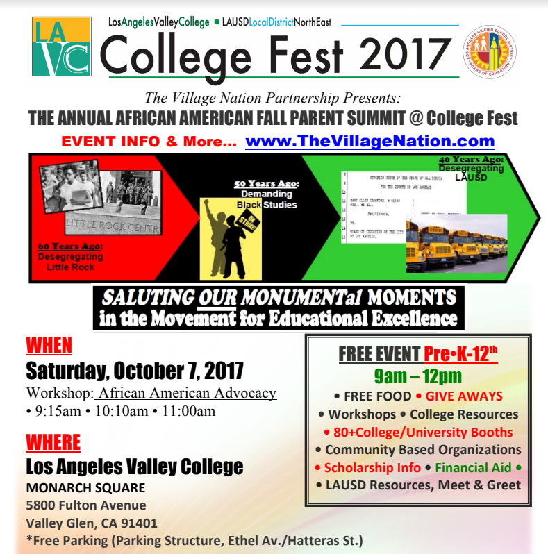 The Annual African American Fall Parent Summit @ College Fest