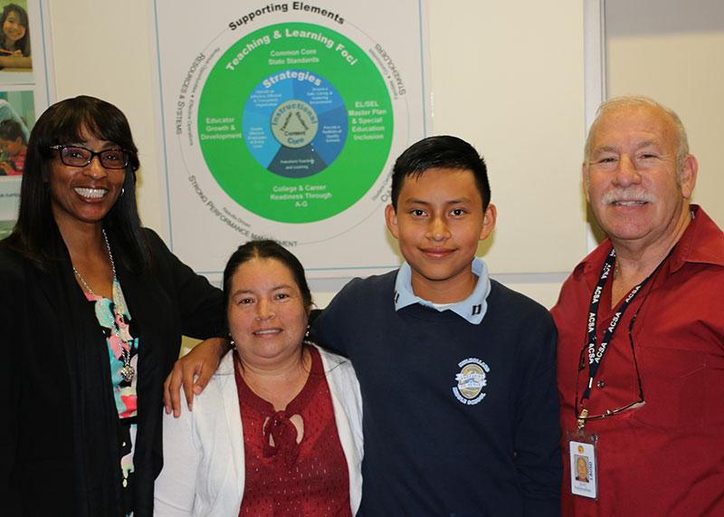 Keven Barrera and his mother, Board Member Scott Schmerelson, and Mulholland 8th Grade Teacher Ms. Sawyers