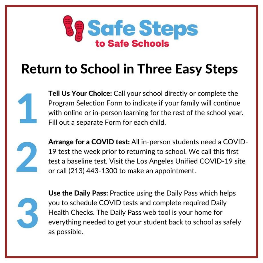 3 EASY STEPS ON RETURNING TO LAUSD SCHOOLS