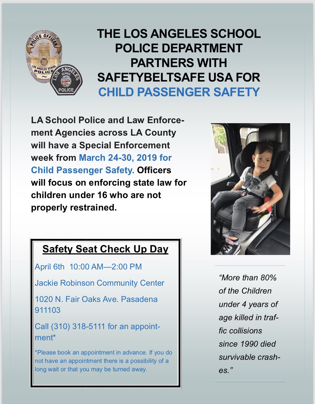 LASPD Partners with Safety Belt Safe USA for Child Passenger Safety