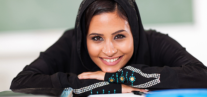 Smiling Middle-Eastern Student