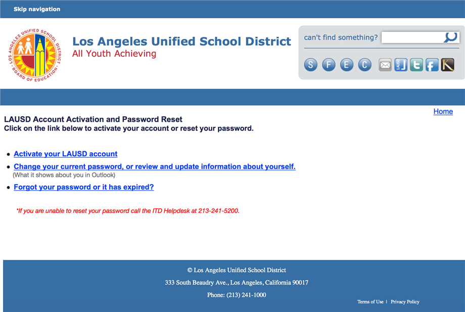 New Look Feel For Lausd Single Sign On Self Service Webpage