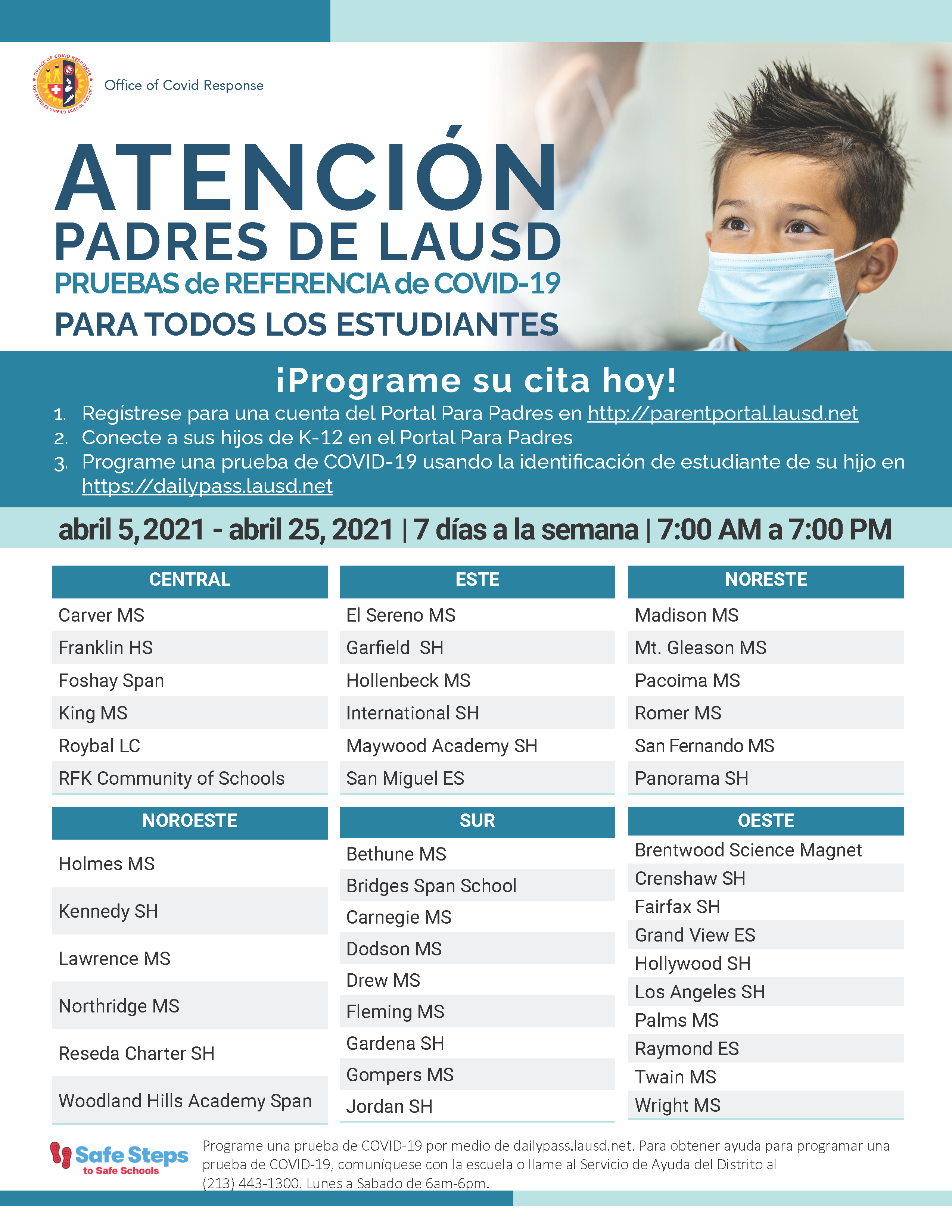 COVID Testing Flyer - Spanish (graphic)