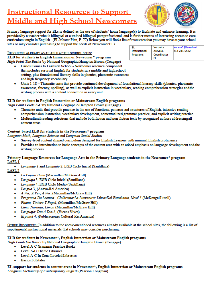 Secondary Newcomer Resources Document