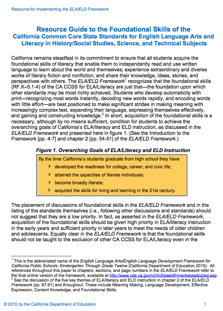 Resource Guide to the Foundational Skills (Resource for Implementing the ELA/ELD Framework)