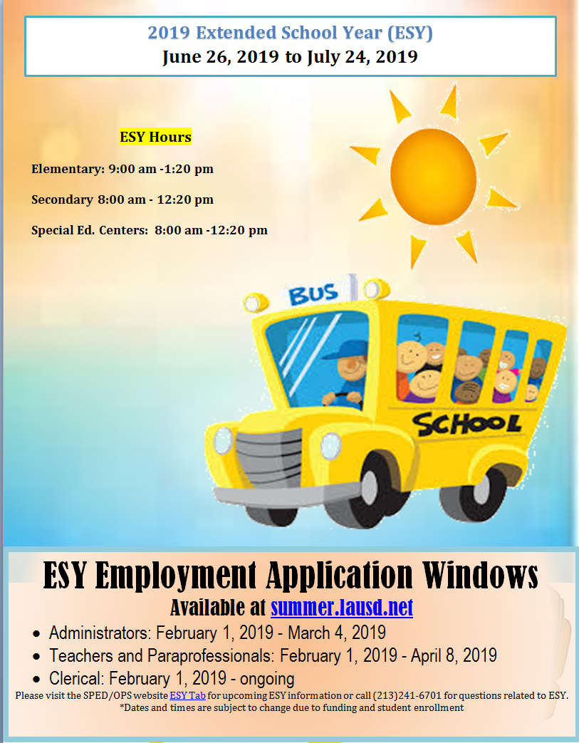 Operations Extended School Year Esy 2019