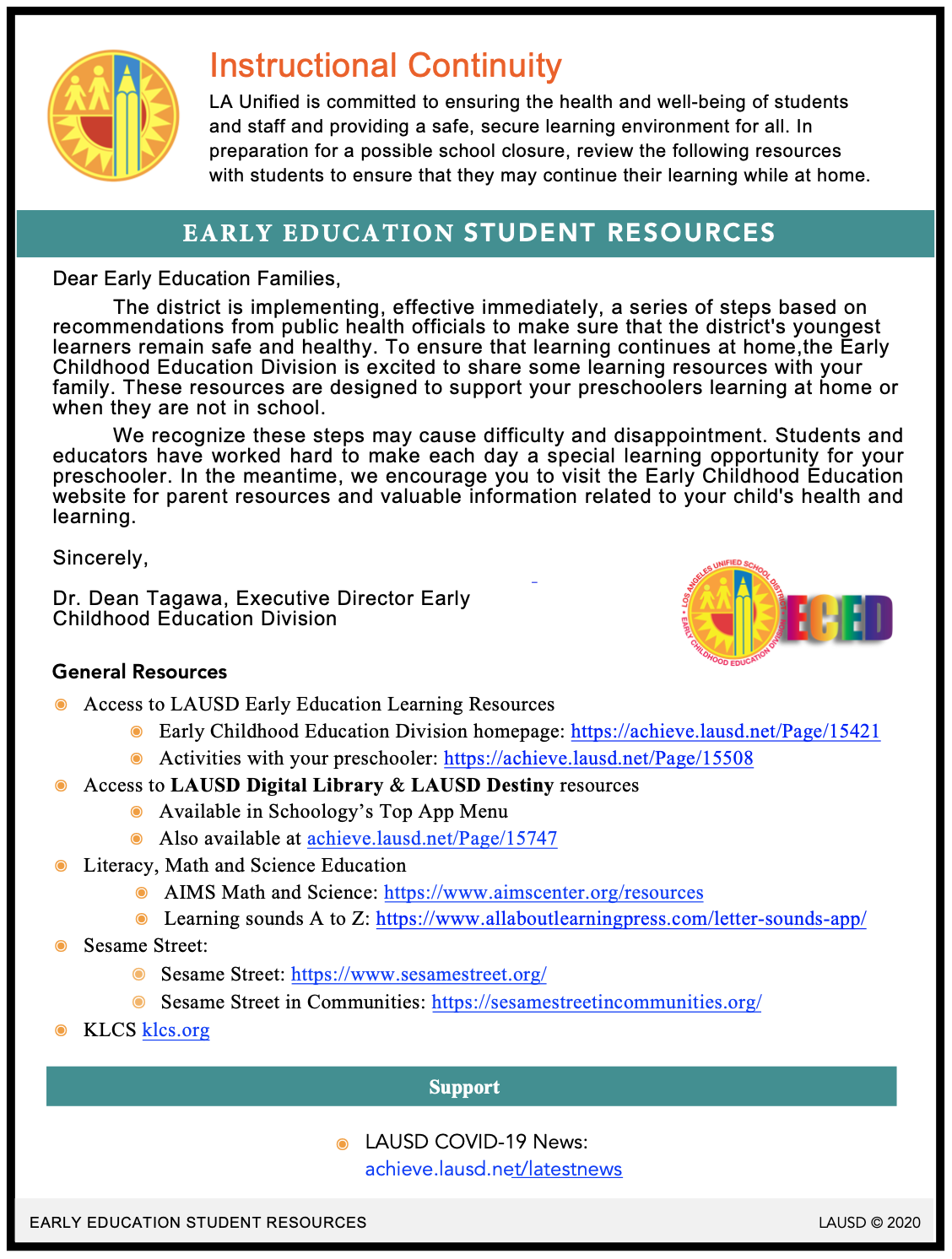 Flyer in English for Early Education Student Resources