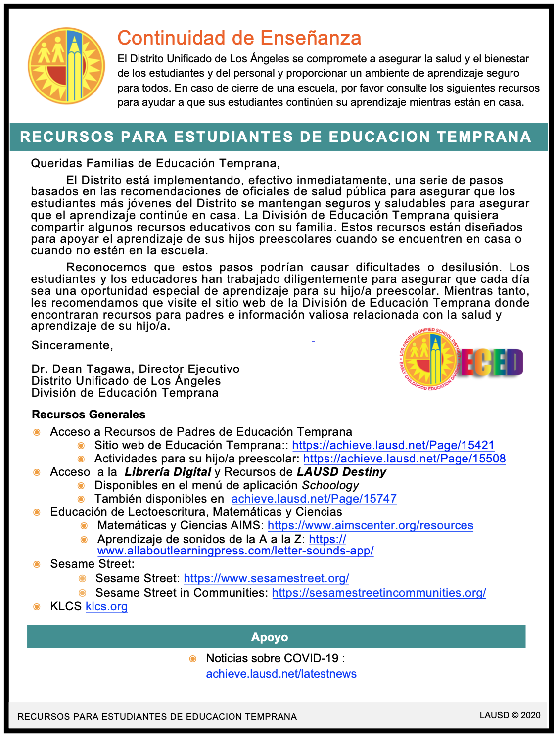 Flyer in Spanish for Early Education Student Resources