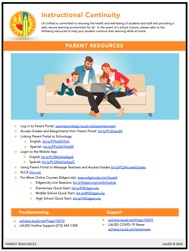 Flyer in English for Parent Resources