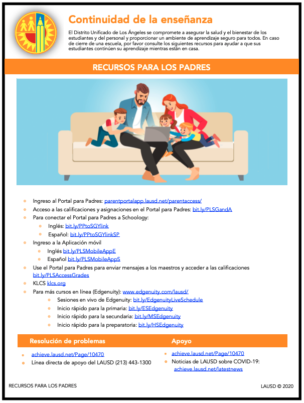 Flyer in Spanish for Parent Resources