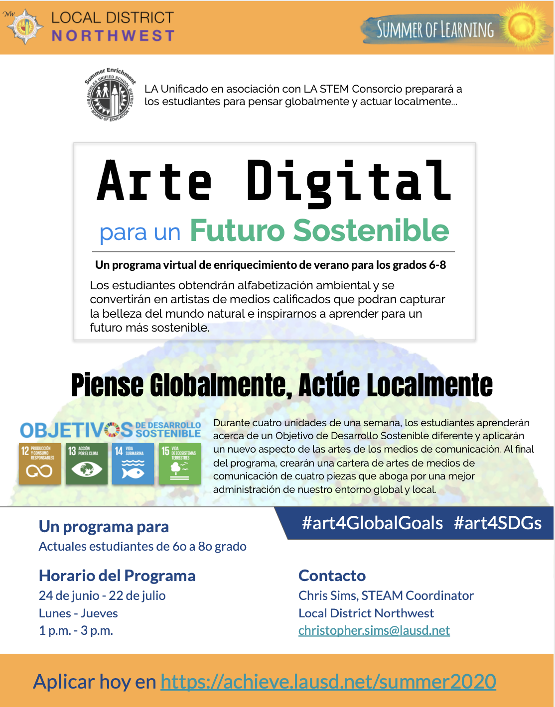 Flyer for Middle School Digital Arts (6 - 8) Spanish