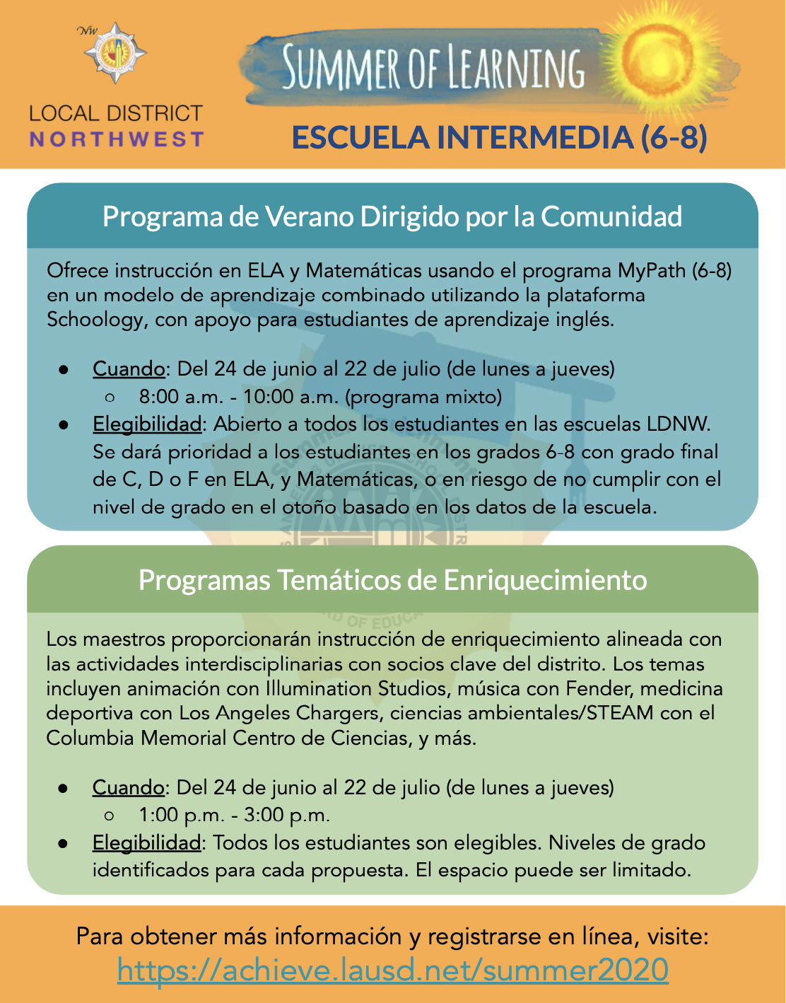 Flyer for Middle School (6 - 8) Spanish