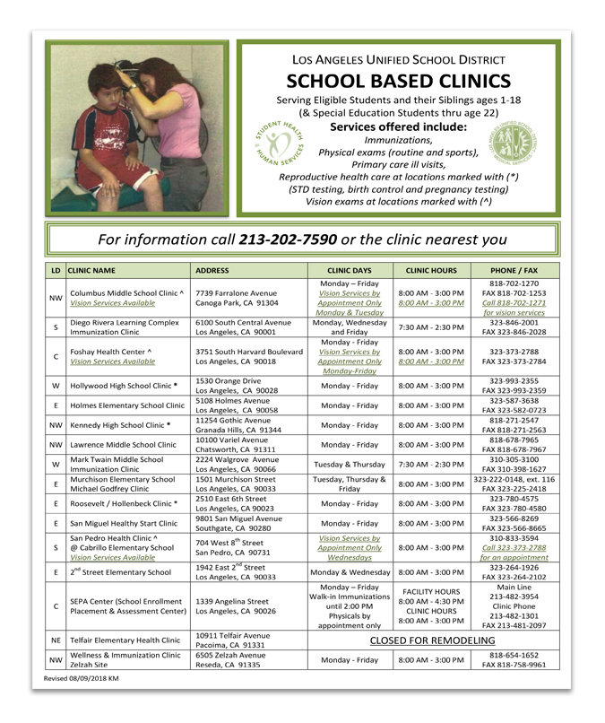 School-Based Clinics August 5-9, 2019